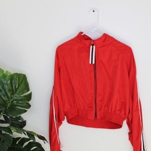 red cropped jacket